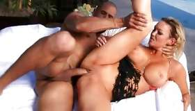 Large tittied horny babe is sucking the big bishop