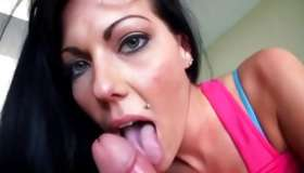 Brown-haired sluttish skank is seductively pleasuring a monstrous attractive penis