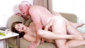 Grandad and infant brown-haired having passionate spanking