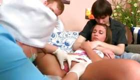 Hotie spotless sweetheart is on bed with 2 horney chaps and this gyno doctor
