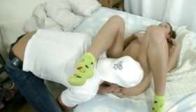 Hotie infant lying on ottoman messed up by a doctor and by a horny guy rough
