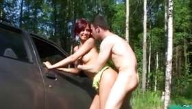 Amazing bitch with great wobblers drilled in a forest