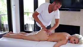 Blonde sexy oily hustler massaged wildly