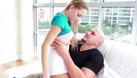 Bald head man is harshly sucking her unique bags