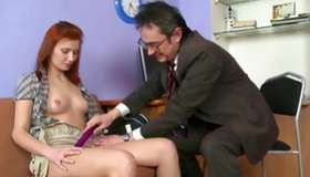 Exciting red head hooker is giving a deepthroat an old perfect penis
