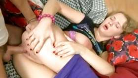 Unshaved sandy colored inviting floosie is riding on a extensively larger exciting pecker