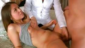 Horny guy is on bed with non-standard lassie and gyno doctor getting obscene
